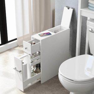 Spirich Home Slim Bathroom Storage Cabinet Free Standing Toilet Paper Holder