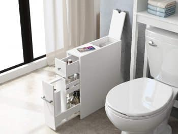 Spirich Home Slim Bathroom Storage Cabinet Free Standing Toilet Paper Holder