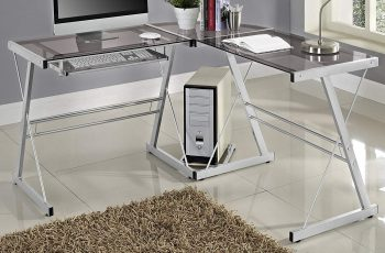 WE Furniture 3 Piece Soren Silver with Smoke Glass Corner Desk