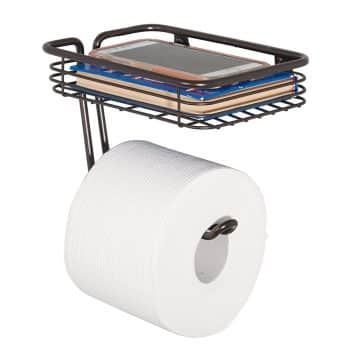 mDesign Wall Mount Toilet Tissue Paper Roll Holder and Dispenser with Storage Shelf for Bathroom Storage