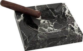 Bey-Berk Square Solid Marble Four Cigar Ashtray