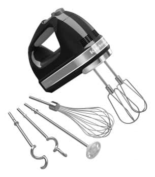 Speed Digital Hand Mixer with Turbo Beater II Accessories and Pro Whisk-Onyx Black