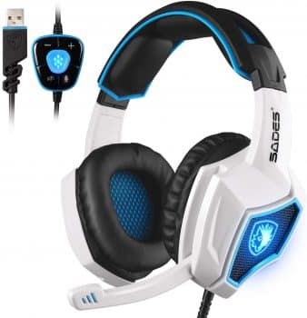 SADES Sprint Wolf 7.1 Surround Stereo Sound USB Computer Gaming Headset with Microphone