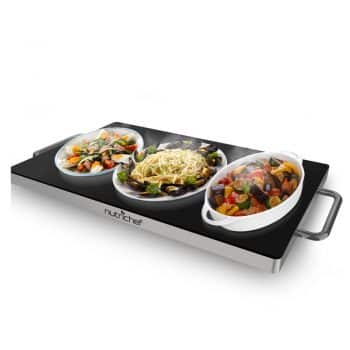 NutriChef Portable Electric Hot Plate - Stainless Steel Warming Tray Dish Warmer w