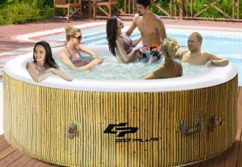 Goplus 6 Person Inflatable Hot Tub for Portable Outdoor Jets Bubble Massage Spa Relaxing w