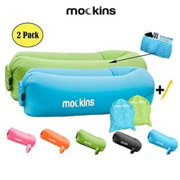 Mokins 2 Pack Blue Green Inflatable Lounger Hangout Sofa Bed