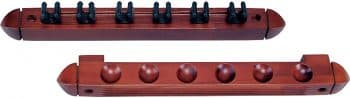 Standard 6 Pool Cue Stained Wood Wall Rack with Clips