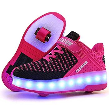 Fashion Sneakers Kids Girls Boys Light Up Wheels Skate Shoes