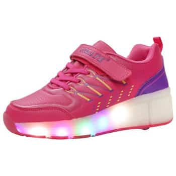 VMATE PU Boy Girl LED Light Up Roller Double Single Wheel Skate Sneaker
