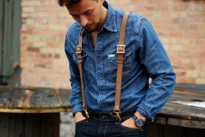 Made in USA New Brown Suspender Men//Junior Elastic Adjustable Y-Back Clip On