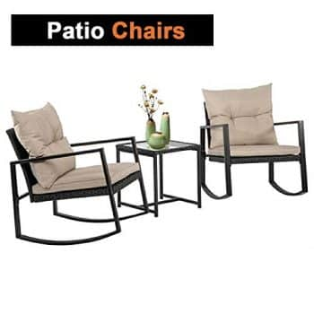 Outdoor 3 PCS Wicker Rocking Chair Patio Rattan Bistro Set Garden Conversation Sets Patio Furniture For Porch Poolside Lawn Backyard