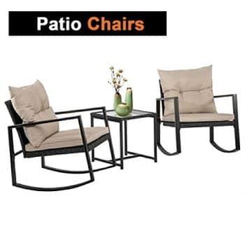 Outdoor 3 PCS Wicker Rocking Chair Patio Rattan Bistro Set Garden Conversation Sets Patio Furniture For Porch Poolside Lawn Backyard