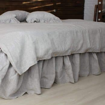Line Bed Skirt with Gathered Ruffles and Cotton Decking