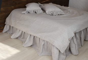 Romantic Pure Linen Bed Skirt with Ruffles
