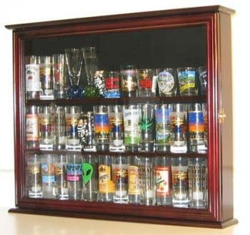 Wall Mounted Curio Cabinet Short Glass Display Case