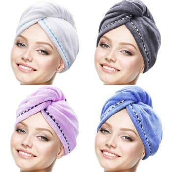 Tatuo 4 Pieces Microfiber Hair Towel Wrap Turbie Hair Towel Twist Head Wrap Hair Turban Cap Quick Dry Microfiber Head Towel for Women Girl (Multicolor A)