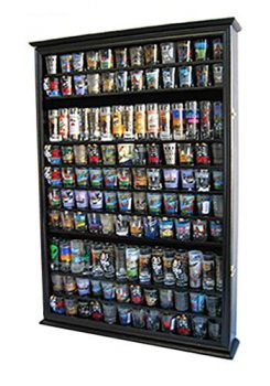 Large 144 Shot Glass Display Case Holder Cabinet Shadow Box