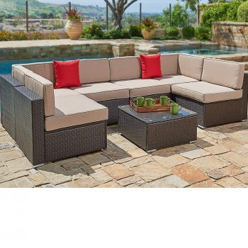 SUNCROWN Outdoor Sectional Sofa (7-Piece Set) Wicker Furniture w