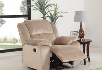 DIVANO ROMA FURNITURE Oversize Brush Microfiber Rocker and Swivel Recliner Living Room Chair (Beige)