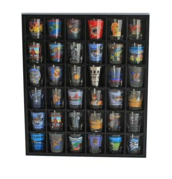 Wood Shot Glass Wall Curio Display case Cabinet Display Stand - Black