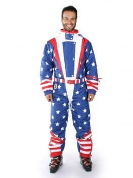 Tipsy Elves Men's American Flag USA Ski Suit - Stars and Stripes Patriotic Retro Ski Suit