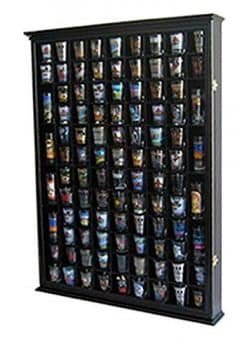 100 Shot Glass Display Case Holder Shadow Box Wall Cabinet