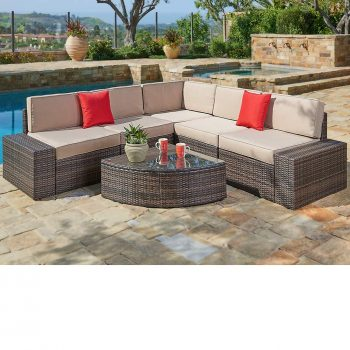 SUNCROWN Outdoor Furniture Sectional Sofa & Wedge Table (6-Piece Set) All-Weather Brown Wicker with Washable Seat Cushions & Modern Glass Coffee Table