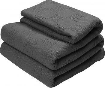 Utopia Bedding Woven Cotton Blanket (Full/Queen, Smoke Grey) Breathable Cotton Throw Blanket and Quilt for Bed & Couch
