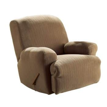 Surefit Stretch Pinstripe 1-Piece - Recliner Slipcover - Taupe