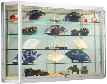 Wall-Mounted Silver Aluminum Glass Display Cabinet