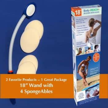 "18"" Semi-flex Body-Reach+ Bendable""Unbreakable"" Lotion Applicator includes: (4) SpongeAbles"