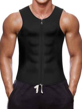 Men Waist Trainer Vest for Weightloss Hot Neoprene Corset Body Shaper Zipper Sauna Tank Top Workout Shirt by Wonderience