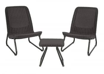 Keter Rio 3 Pc All Weather Outdoor Patio Garden Conversation Chair & Table Set Furniture