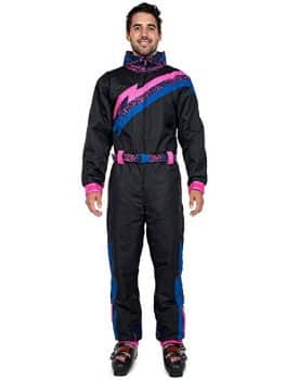 Tipsy Elves Men's Black Night Run 80's Style Ski Suit - Retro Inspired Ski Onesie