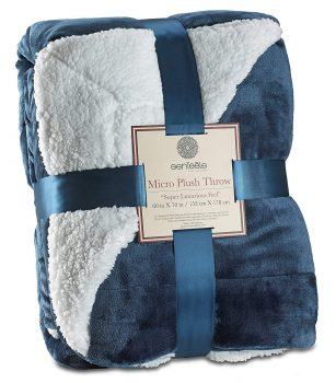 "Genteele Sherpa Throw Blanket Super Soft Reversible Ultra Luxurious Plush Blanket (50"" X 60"", Navy)"