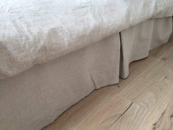 Tailored Linen Bed Skirt Pleated in Natural Linen