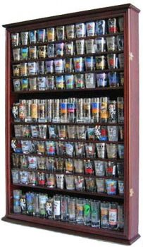 Large 144 Shot Glass Shooter Display Case Holder Wall Cabinet