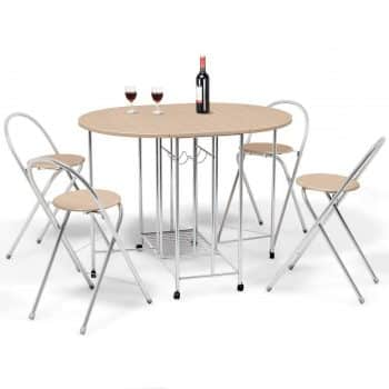 Giantex 5PC Foldable Dining Set with Shelf Storage and Wine Rack