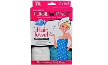 Turbie Twist Microfiber Super Absorbent Hair Towel (2 Pack) Aqua-White Packaging may Vary