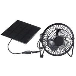 TOOGOO 4 Inch Cooling Ventilation Fan USB Solar powered iron fan