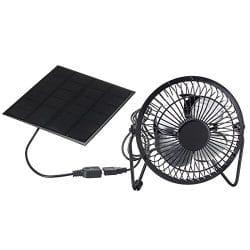 TOOGOO 4 Inch Cooling Ventilation Fan USB Solar powered iron fan