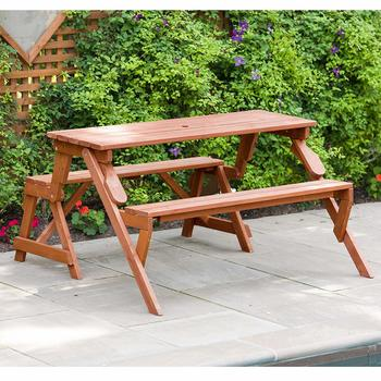 12. Leisure Season Convertible Portable Picnic Table and Garden Bench