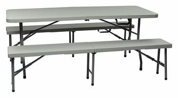 6. Office Star Resin 3-Piece Folding Picnic Tables