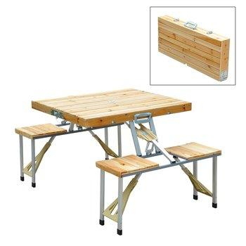 8. Outsunny 4 Person Wooden Folding Picnic Tables