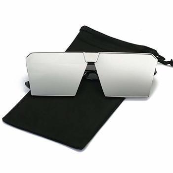 8. Robot Glass Unique Oversize Shield Vintage Square Sunglasses