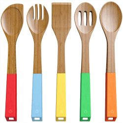 2. Vremi 5-Piece Bamboo Kitchen Utensil Set