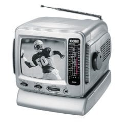 "4. Coby CX-TV1 5"" Black-and-White Portable TV"