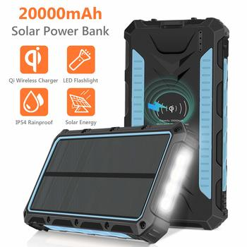 9. Solar Charger 20000mAh, Qi Wireless Portable Solar Power Bank