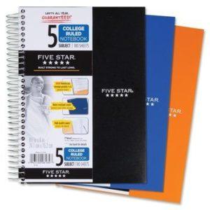 10. Five Star Spiral 5-Subject Notebook