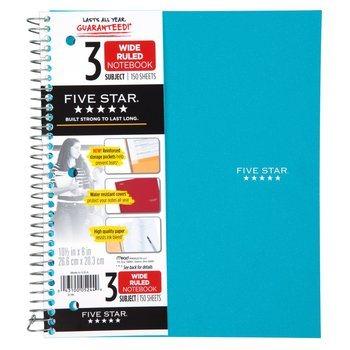 10. Five Star Spiral Notebook 3-Subject